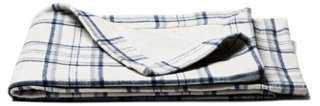 Heathered Flannel Reversible Throw, Blue - One Kings Lane