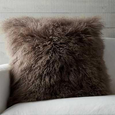 Pelliccia Mongolian Lamb Fur Pillow - Crate and Barrel