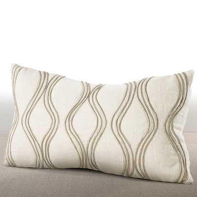 "Chauran Cirque Ivory Lumbar Feather and Down Pillow with Hand-applied Beaded Leather Cord-10""x18"" - Overstock"