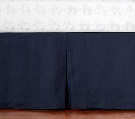 Belgian Flax Linen Nursery Bedding - Crib Skirt - Navy - Pottery Barn Kids