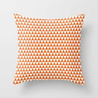 "Triangles - orange and white Pillow - 18"" x 18"" - Down Insert - Society6"