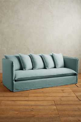 Basketweave Linen Carlier Slipcover Sofa - Anthropologie