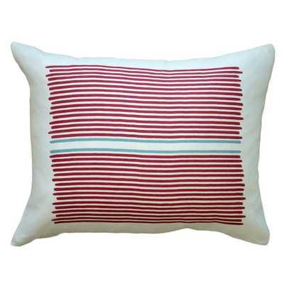 "Louis Stripe Linen Lumbar Pillow - Red / Blue Stripe - 14"" H x 18"" W - Eco-fill - AllModern"