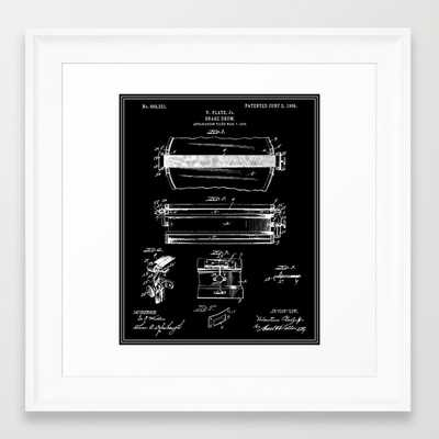 "Snare Drum Patent - Black- 12""x12""- Framed - Society6"