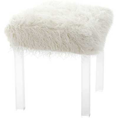 Mongolian Lamb Faux Fur Acrylic Square Leg Stool - Wayfair