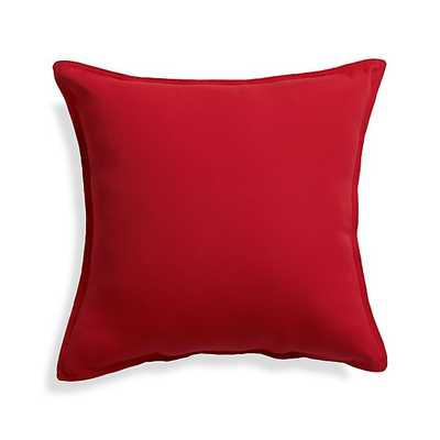 """Sunbrella ® Ribbon Red 20"""" Sq. Outdoor Pillow - With Insert - Crate and Barrel"""