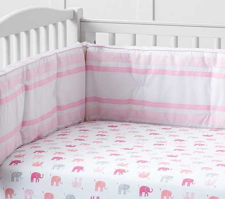 Harper Elephant Nursery Bedding - Crib Fitted Sheet; Pink - Pottery Barn Kids