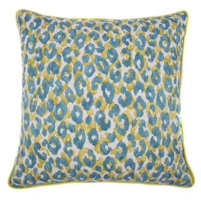 Jiti Outdoor Cheetah Teal 20-inch Square Pillow with insert - Overstock