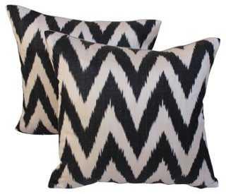 Black & White Silk Ikat Pillows, Pair - One Kings Lane