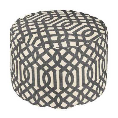Rustic Linen Beige and Charcoal Gray Trellis Round Pouf - zazzle.com