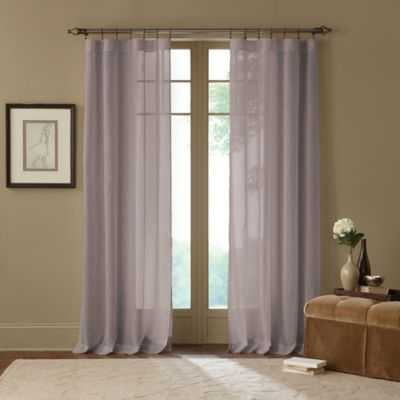Cambria® Terra 95-Inch Rod Pocket Sheer Window Curtain Panel in Grey - Bed Bath & Beyond