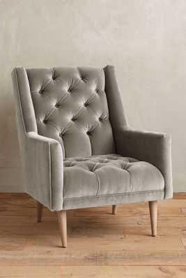 Velvet Booker Armchair - Light Grey - Anthropologie