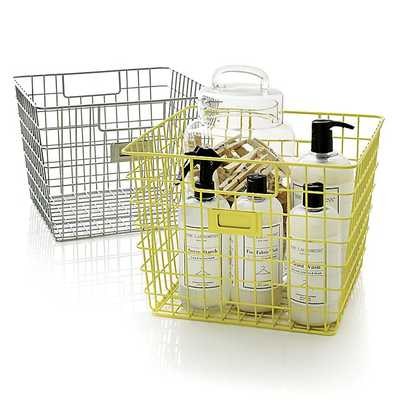 Yellow Wire Bin - Crate and Barrel