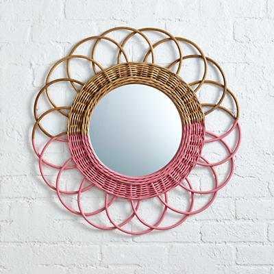 Sunrise Rattan Mirror (Pink) - Land of Nod