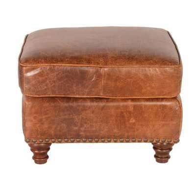 Lazzaro Leather Alexus Caramel Ottoman - Overstock