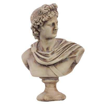 "Cement Greek Deity Apollo Bust on a Pedestal - 13"" H /Brown - Wayfair"