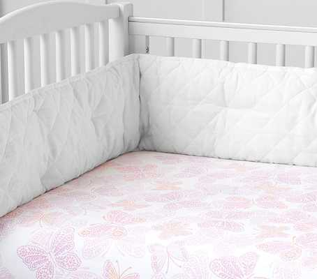 Ava Butterfly Crib Fitted Sheet - Coral - Pottery Barn Kids