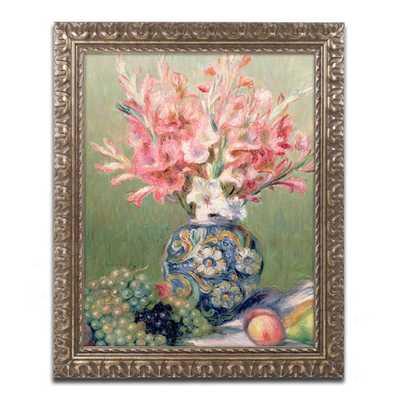 Still Life of Fruit & Flowers by Renoir Framed Giclee Print-14x11x.5-Gold frame - Wayfair