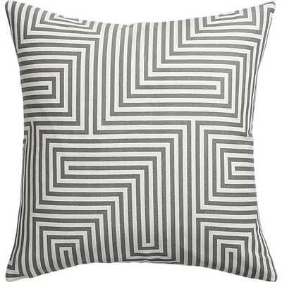 """Vibe 18"""" pillow- Gray/White, Down Insert - CB2"""
