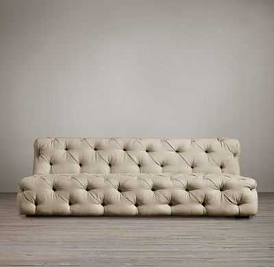 SOHO TUFTED UPHOLSTERED ARMLESS SOFA - Brushed Belgian Linen Cotton, Taupe, - RH