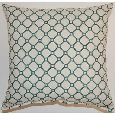 Pamir Cotton Throw Pillow - Turquoise - 17x17 - Poly Insert - Wayfair