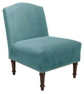 Clark Slipper Chair, Aqua Velvet - One Kings Lane
