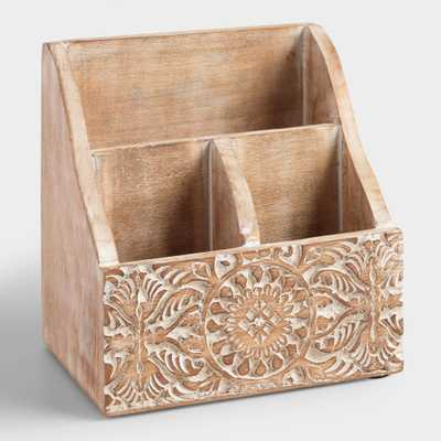 Mini Hand-Carved Wood Gianna Desk Organizer - World Market/Cost Plus