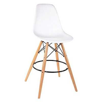 ModHaus Mid Century Modern Eames DSW Style White Counter Stool Chair - Amazon