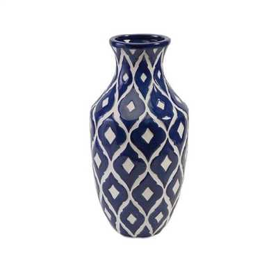 Maine Blue and White Tall Vase - Overstock