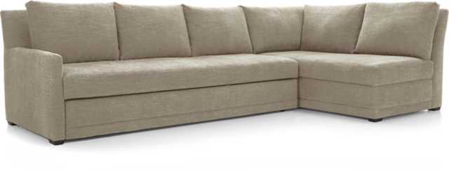 Reston 2-Piece Sleeper Sectional Sofa - Mink - Crate and Barrel