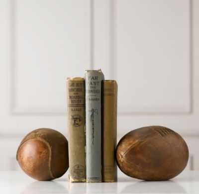 vintage leather sports ball bookend - set of 2 - RH Baby & Child