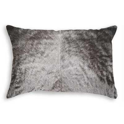 "Torino Cowhide Pillow 12""x20"" Black - Polyfilled - Domino"