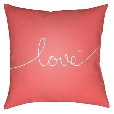 """Endless Love Throw Pillow - Surya- Coral pink- 18"""" x 18""""- Polyester fill insert - Target"""