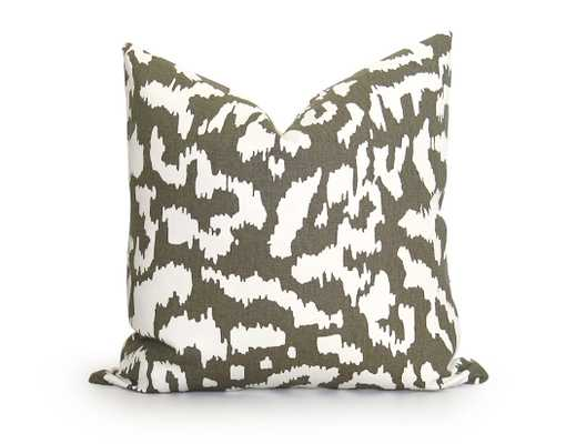 """Animal Ikat Pillow Cover - DVF - Taupe -20"""" x 20""""-Insert not included - Willa Skye"""