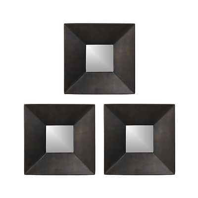 Set of Three Rory II Square Wall Mirrors - Crate and Barrel