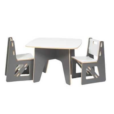 Kids 3 Piece Table & Chair Set - Grey - AllModern
