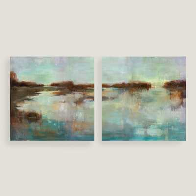 Abstract Waters Diptych I and II - 70x35, Unframed - World Market/Cost Plus