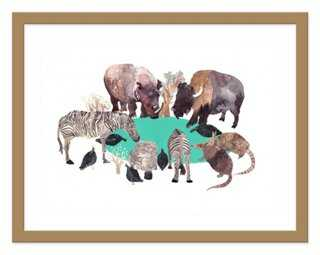 "Michelle Morin, Watering Hole - 24"" x 18"" (Framed) - One Kings Lane"
