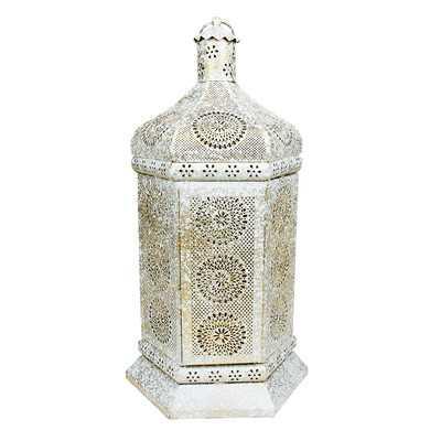 Moroccan Iron Lantern - Distressed White/Gold - Wayfair