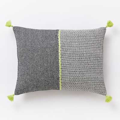 "Woven Grid Pillow Cover - Citrus Yellow - 12"" x 16"" - Insert Sold Separately - West Elm"