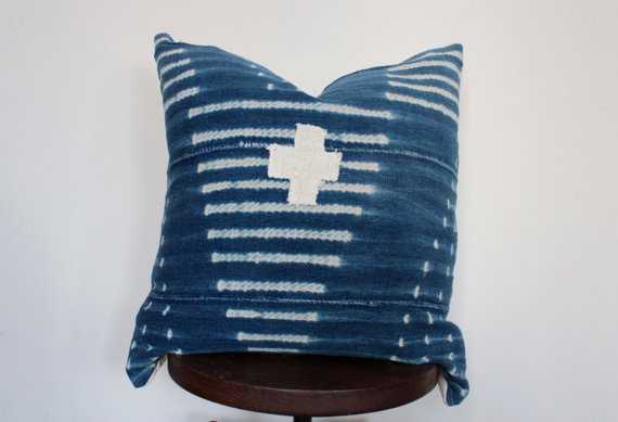 """African Mud Cloth Indigo Pillow Cover-20"""" x 20""""-Insert not included - Etsy"""