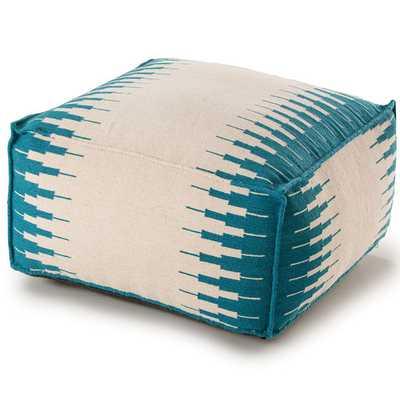 314 Pouf Ottoman - White / Blue - Wayfair