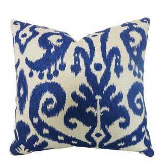 Ikat 20x20 Cotton-Blend Pillow, Blue - One Kings Lane