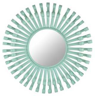 Mayfair Round Swirls Mirror, Aqua - One Kings Lane