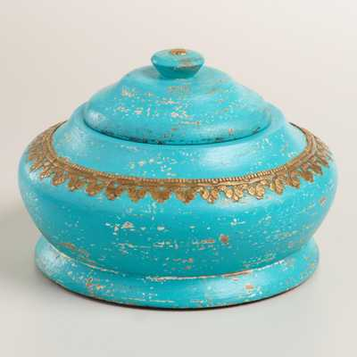 Large Teal Round Wood Box - World Market/Cost Plus