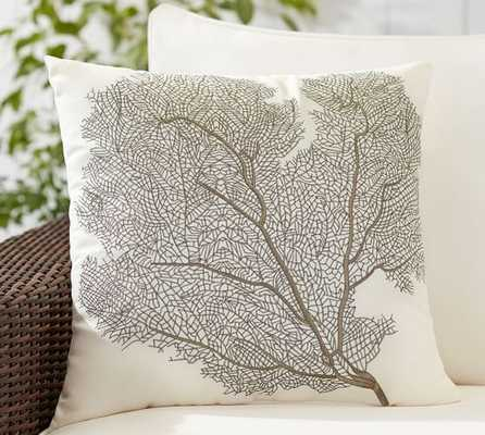 """SEA FAN EMBROIDERED INDOOR/OUTDOOR PILLOW 20"""", insert - Pottery Barn"""