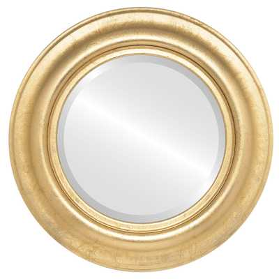 LANCASTER FRAMED ROUND MIRROR - GOLD LEAF - 18x18 - ovalandroundmirrors.com