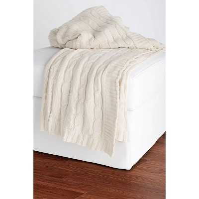 Rizzy Home Cable Knit Sweater Throw - Cream - Target