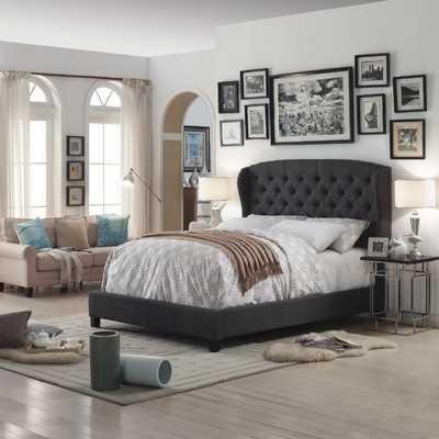 Felisa Upholstered Wingback Panel Bed - Queen - Charcoal - Wayfair