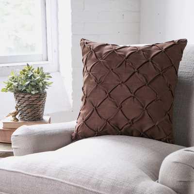 "Alda Pintucked Navy Pillow Cover - 18""sq. - Insert Sold Separately - Birch Lane"